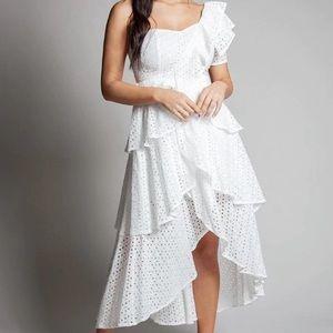 L'atiste One-Shoulder Eyelet White Midi Dress